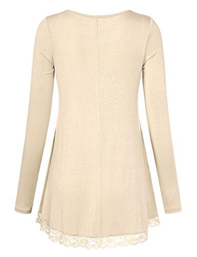 DJT Damen Langarmshirt V-Kragen T-Shirt Bluse mit Lace Hem Tunika Apricot