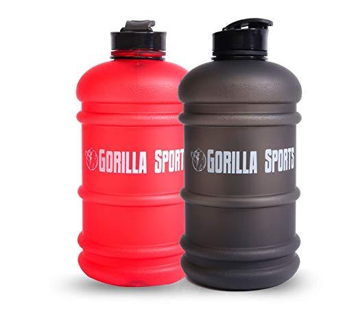 GORILLA SPORTS® Sport Trinkflasche Gallone 2,2 l XXL Schwarz/Rot - Water Gym Bottle auslaufsicher mit Tragegriff, BPA & DEHP frei Farbe Rot