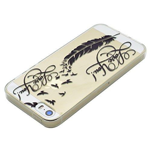 Coque iPhone 5 Silicone, LuckyW Housse Etui TPU Silicone Clear Clair Transparente Gel Slim Case pour Apple iPhone 5 5S SE Soft de Protection Cas Bumper Cover Converture Anti Poussières Couvercle Anti  Plume noire