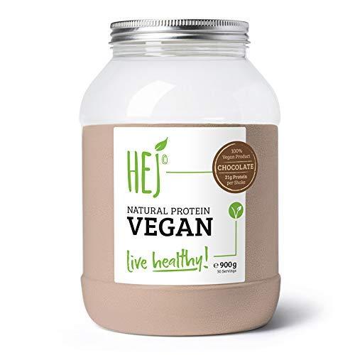 HEJ Natural Protein Vegan Schoko - Veganes Protein - Pflanzliches Proteinpulver aus hochwertigem Reis- und Erbsenprotein - Veganes Proteinpulver - 1er Pack (1 x 900g)