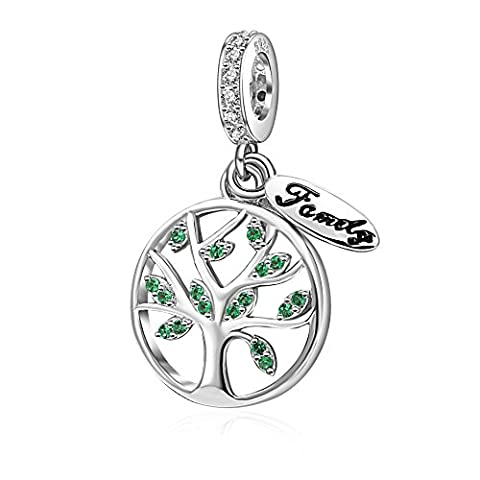 Authentic 925 Sterling Silver Pendant-Family Life Tree with Green Cz Stone Dangle Charms for Bracelet
