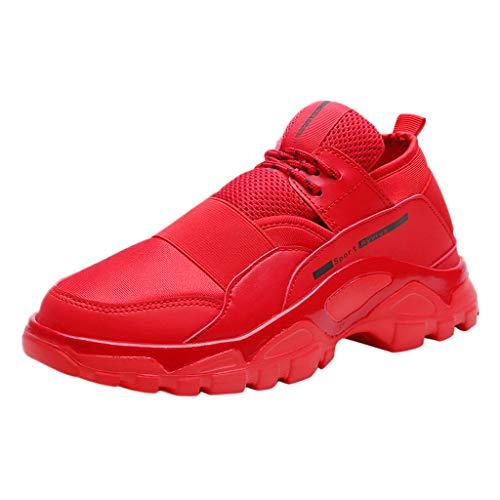POIUDE Sneakers Herren Outdoor Mesh Lässige Sportschuhe Atmungsaktive Schuhe Turnschuhe Bergsteigen Schuhe(rot, 41)