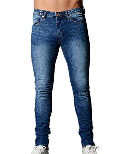 Mænds Denimbukser, Skinny Stretch Fashion Distressed Jeans Slim Fit Bukser S-3XL