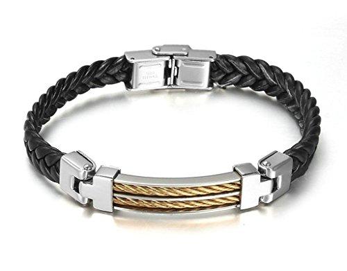 charme-cuir-bracelet-noir-23cm-tissage-chaine-mariage-beacelet-aooaz-acier-inoxydable-masculin