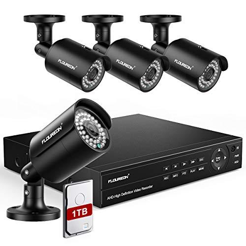 FLOUREON DVR Sistema Telecamera di Sicurezza Kit Videosorveglianza 8CH CCTV DVR 6 in 1 HD 1080P XVI Rilevamento di Persone Allarme di Movimento Accesso Remoto Con 1TB HDD