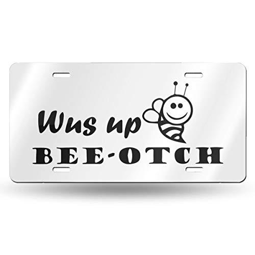 Paoseven Plaque d'immatriculation personnalisée en Aluminium avec Inscription WUS Up Bee OTCH 15,2 x 30,5 cm, Blanc, Taille Unique