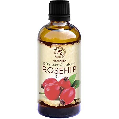 Aromatherapie Feuchtigkeitsspendende Vitamine (Hagebuttenöl 100ml - Rosa Canina Fruit Oil - Chile - Kaltgepresst - 100% Rein & Natürlich - Basisöle - Hagebuttenkern Öl - Pflege für Gesicht - Körper - Haare - für Massage - Kosmetik)