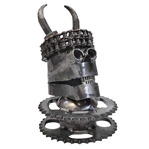 Wilai Skull Figur Skulptur Kopfskulptur Schädel Industriedesign Schrottkunst Totenkopf Tattoo Rocker Metall (14066)