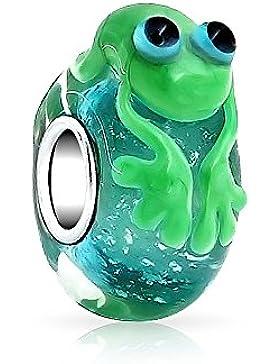 Bling Jewelry Sterling-Silber Muranoglas Süßen grünen Frosch