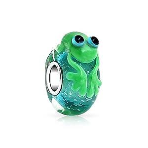 Bling Jewelry Grün Frog Murano Glas Sterling Silber Spacer Die Bead Charm Passend Für Europäische Charme Armbänd Für Damen Jugendlich