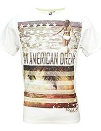 Soulstar Raleigh Hommes T-shirt Manches Courtes Un Rêve Américain Impression De La Plage Haut T-shirt