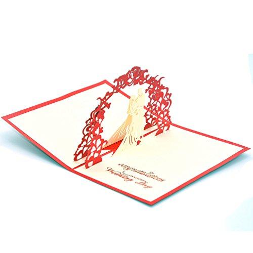 medigy 3d Pop Up–Tarjeta de felicitación para San Valentín, los amantes, de la pareja, boda, Dating Aniversario (el novio y de la novia), color rosso