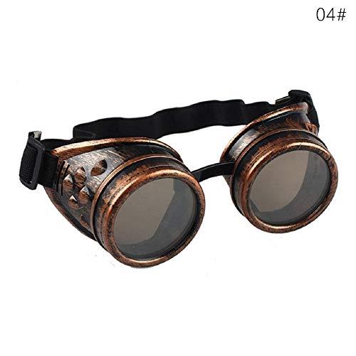 ddellk Steampunk-Brille, modisch, Vintage-Stil, Punk-Brille zum Schweißen, Cosplay, Winddichte Sonnenbrille, Unisex, 3#, as Show