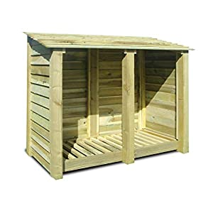 Rutland County Garden Furniture COTTESMORE 4FT WOODEN LOG STORE/GARDEN STORAGE, GREEN, HEAVY DUTY, HAND MADE, PRESSURE TREATED.