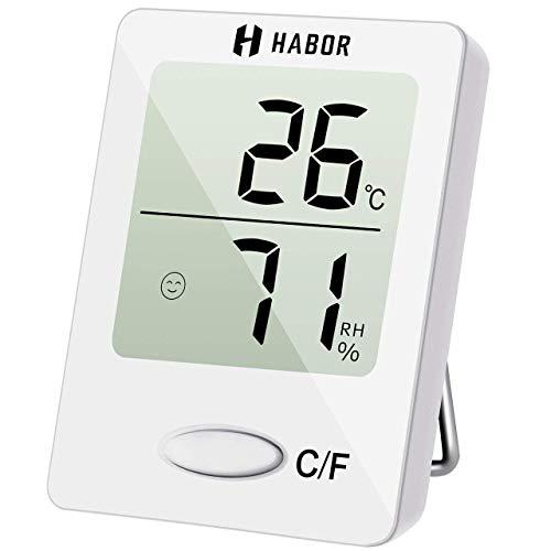 Habor HBHM118AW-DEVD1 Thermo, Luftfeuchtigkeitsmessgerät Thermometer Hygrometer Innen Hydrometer Feuchtigkeit Digital mit Hohen Genauigkeit, Geeignet für Babyraum, Wohnzimmer, Büro Weiß