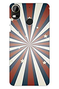 AMAN White & Orange Lines 3D Back Cover for HTC Desire 10 Pro