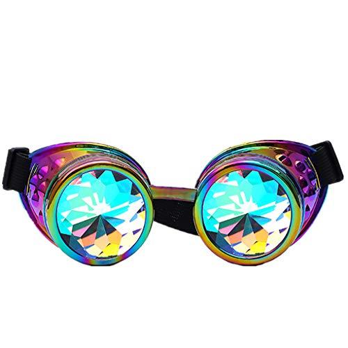 EDM Sonnenbrille für Unisex/Damen Herren Bunt Brille Rave/Festliche Brille Party gebeugte Linse Vintage Outdoor Brillen/Brille Dekobrillen/Valentinstag Brille für Frauen Männer
