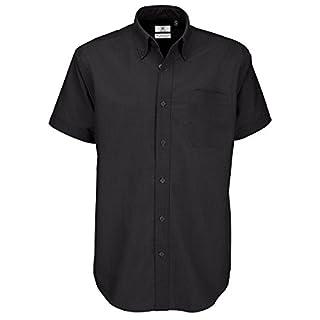 MAKZ B&C Men's Oxford Short Sleeve Shirt Black Large