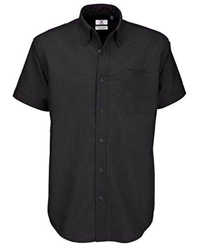 B&c - camicia da uomo oxford a maniche corte - nero, large