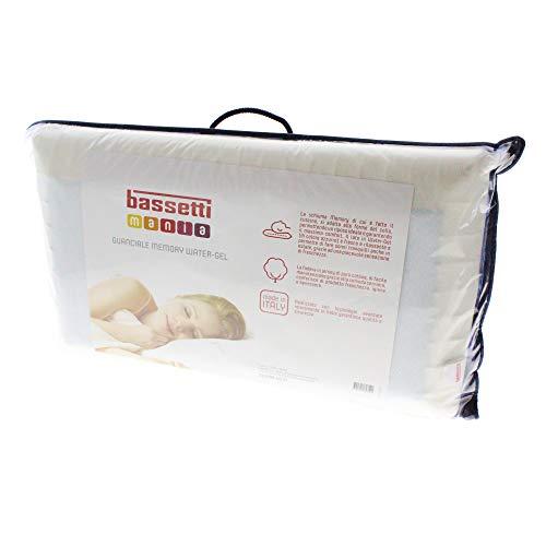 Bassetti - Almohada de látex Memory Water-Gel Fabricada en Italia, 50 x 80 cm, Puro algodón