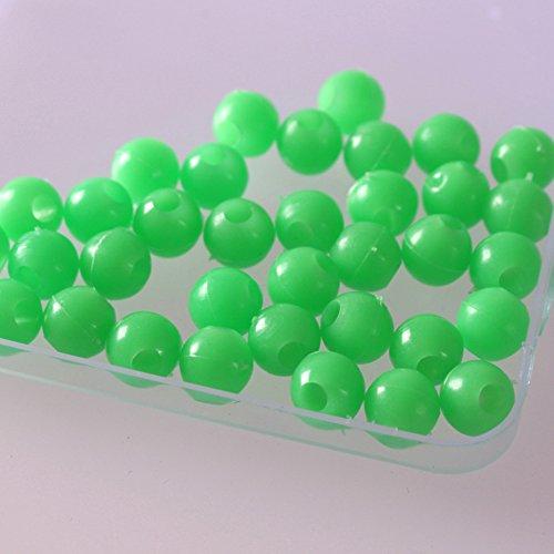 ZQEDY 100/Set Glow Rig Bead Runde Weiche Kunststoff Glowing Beads Sea Angelköder treibend behandelt, 8mm, Grün -