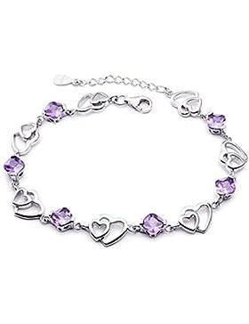 Summens Damen Charm-Armband Armband Sterling Silber 925 VerstellbarDouble Heart Amethyst Armband AAA Zirkonia...