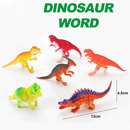 Mitlfuny Kawaii Langsam Dekompression Creme Duftenden Groß Squishy Spielzeug Squeeze Spielzeug,Realistisch aussehende 5,5-Zoll-Dinosaurier-Packung mit 6 sortierten Plastik-Dinosaurier-Figuren