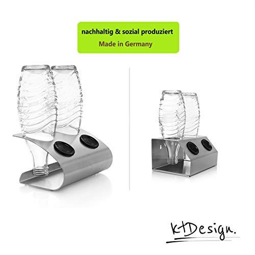 ktDesign Premium SodaStream Abtropfhalter aus Edelstahl für 2 Flaschen - SodaStream Flaschenhalter mit Abtropfboden und Deckelhalterung für SodaStream Crystal, Emil- und Glasflaschen, Made in Germany