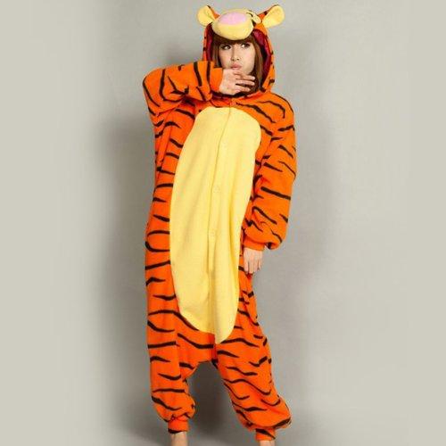 iDream Tier Cosplay Kostüme Tierkostüme Erwachsene Pyjamas Kostüm Pyjamas Schlafanzug Nachtwäsche Kostüm Cosplay Tier kleid Tier Cosplay Anime Damen und Herren gut Geschenk für Kinder und Erwachsene in Weihnachten Halloween Fasching Kinderparty Karneval (Tiger, S/(Ihre Höhe: 148-160cm)) (Kostüm Br)