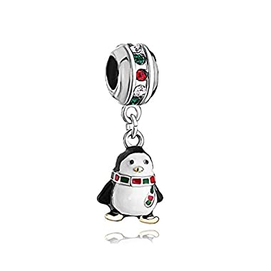 LuckyClover Jewellery Penguin Charm Red Green Birthstone Charm Fit Pandora Charm Bracelets