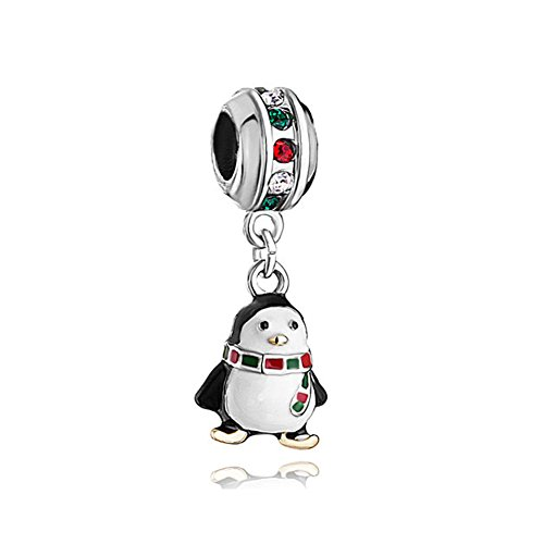 - 41W4XfrjzjL - LuckyClover Jewellery Penguin Charm Red Green Birthstone Charm Fit Pandora Charm Bracelets