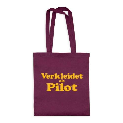dress-puntos Baumwolltasche Verkleidet als Pilot drpt-bwt00379-21 Textil burgundy / Motiv gelb - 42 x 38 cm