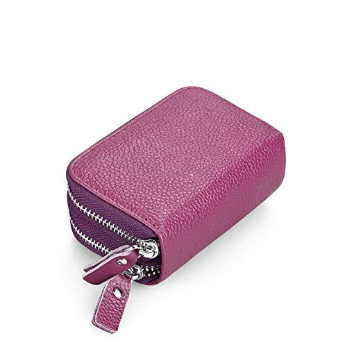 QLOH Brieftasche Unisex Mini Leder Geldbörse Bank Name Id Kartenhalter Doppelreißverschluss Kreditkarteninhaber Kissen Id Kartenetui Geldbörsen Tasche - Mini-geldbörse Bank
