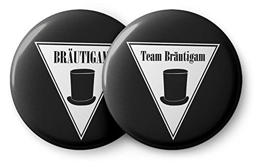 Spielehelden JGA Button Set für Männer mit Zylinder – 12 Stylische Anstecker für den Bräutigam und Seine Crew zur Bachelor Party - Buttons Junggesellenabschied