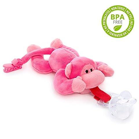 BabyHuggle Pinkes Affen-Schmusetier Schnuller | Softes Kuscheltier an abnehmbarem Baby Silikon-Sauger mit Clip-Band & Quietsche-Ton. Beißring-Halterung. Sicher & beruhigend Geschenk-Idee Geburt. Mädchen &