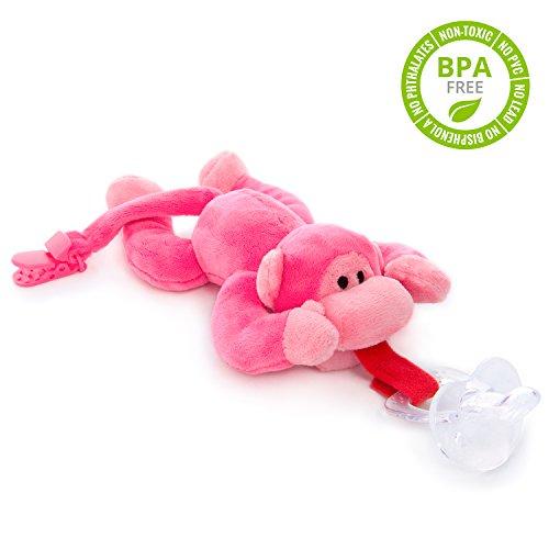 BabyHuggle Pinkes Affen-Schmusetier Schnuller | Softes Kuscheltier an abnehmbarem Baby Silikon-Sauger mit Clip-Band & Quietsche-Ton. Beißring-Halterung. Sicher & beruhigend Geschenk-Idee Geburt. Mädchen & Jungen
