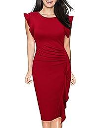 Miusol® Damen Elegant Abendkleid Rundhals Etuikleid mit Falte Knielanges Cocktail Pencil Kleid Navy Blau Gr.S-XXL
