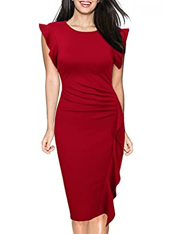 Miusol Femme Ruffles Manche Bodycon Casual Crayon Robe Rouge M-38