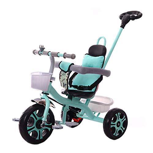 NBgy Kinder Dreirad,3 In 1 Multifunktions-Dreirad Mit Schubstange ,2-6 Jahre Baby Kinderwagen Doppelte Bremse, Schaumrad,3 Farben (Color : Dark Gray) -