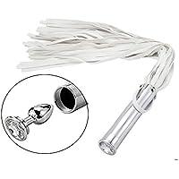 Látigo de mano multifunción 2 en 1, borlas de cuero Látigo Arnés de cuero Decoración de látigo (blanco)