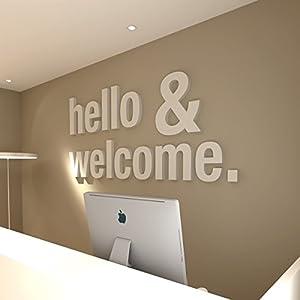HomeArtDecor | Hello & Welcome Wanddeko | Geeignet für Wand Büro und Haus | Hohe Qualität | Büro Dekoration | Dekoration | Einfach anzuwenden | Laubsägearbeit | Gitter