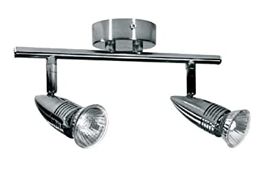 Polished Chrome 2 Way Double Wall / Ceiling Spotlight Bar Mains 230 Volt Complete With GU10 Lamps