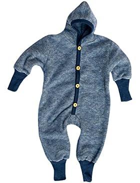 Cosilana Baby Kinder Fleece Overall mit Bündchen am Armen und Füßen, 60% Wolle (kbT), 40% Baumwolle (KBA)