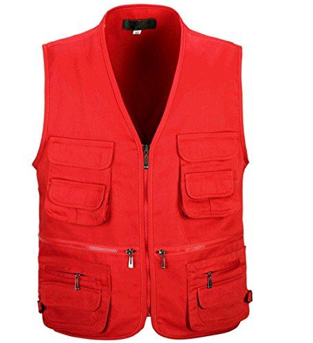WS668 Hommes Multi Pocket Zipper Vest Rétro Sans Manches Mens Cotton Jacket Sleeveless Pêche Gilet Rouge#1