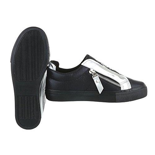 Low-Top Sneaker Damenschuhe Low-Top Sneakers Ital-Design Freizeitschuhe Schwarz