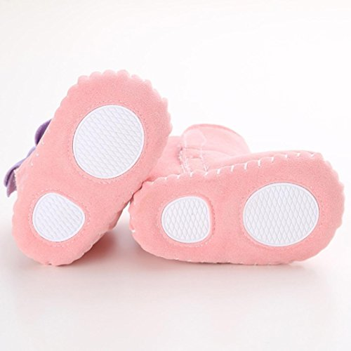 Hunpta Babyschuhe Mädchen Jungen Lauflernschuhe Baby Schneestiefel halten warme weiche Sohle weiche Krippe Schuhe Kleinkind Stiefel (12, Khaki) Rosa
