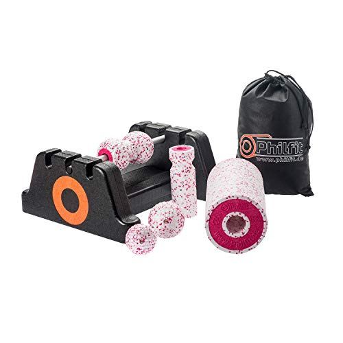 PHILFIT Faszienrolle, Yogarolle, Massagerolle Classic Set Soft, weiß/pink mit Boden- und Wandhalterung