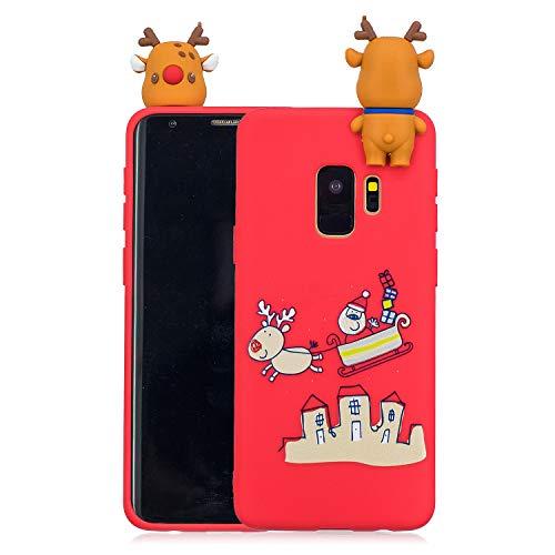 Yobby Weihnachten Motiv Handyhülle für Samsung Galaxy S9 Plus, 3D Cartoon Karikatur Süß Muster Dünn Rückseite Weich Silikon Gummi Stoßfest Schutzhülle-Rot Hirsch Schlitten