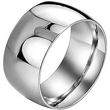 JewelryWe Gioielli 11,5 millimetri lucido Dome Acciaio uomo matrimonio anello elegante - Oro Signore Dome