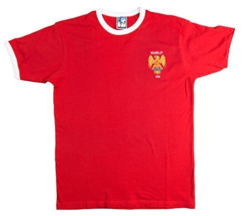 eaca54833 Retro Manchester United 1958 Wembley Football T Shirt New Sizes S-XXL  Embroidered Logo